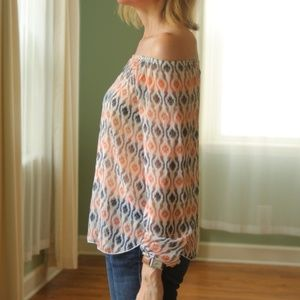 Tops - (Last 1, L) Coral & Gray, Sheer Floaty Top